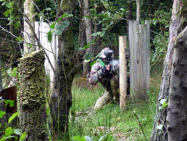 castle game green paintball shooter in grass