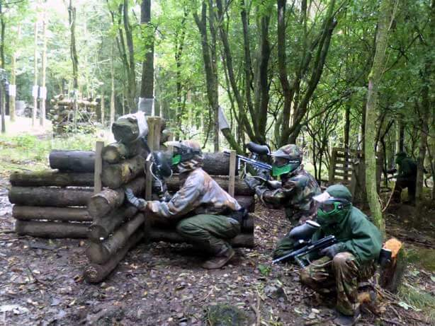green paintballers planning attack