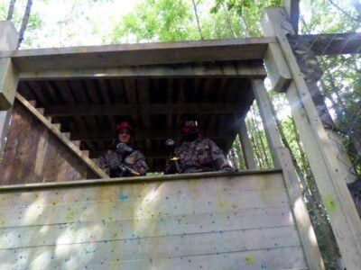 2 red paintball players in the tower