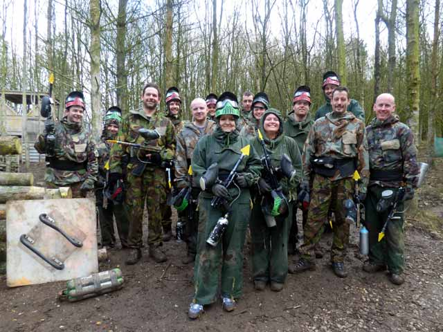 large group of paintball players