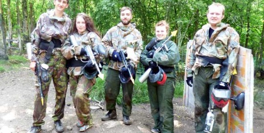 birthday paintballing group of five